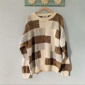 Fall Cream & Brown Chunky Knit Crew Neck Sweater L